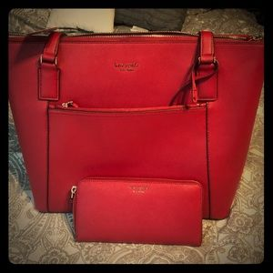 Kate Spade Tote and wallet darker red
